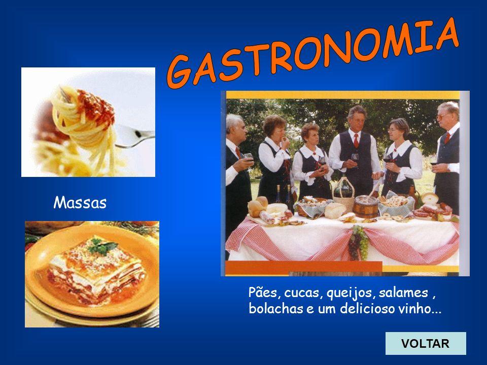 GASTRONOMIA Massas Pães, cucas, queijos, salames , bolachas e um delicioso vinho... VOLTAR