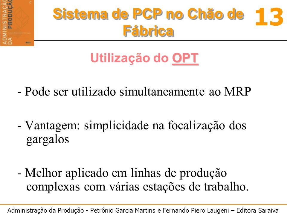 Utilização do OPT - Pode ser utilizado simultaneamente ao MRP. - Vantagem: simplicidade na focalização dos gargalos.