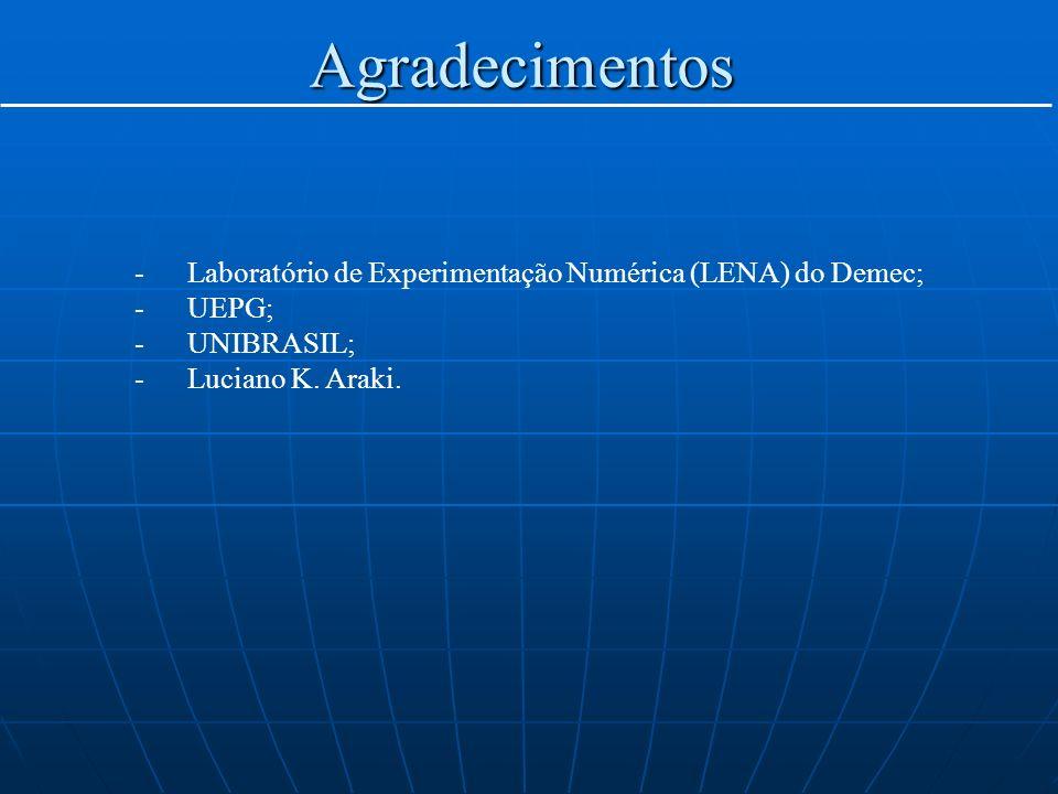 Agradecimentos Laboratório de Experimentação Numérica (LENA) do Demec;
