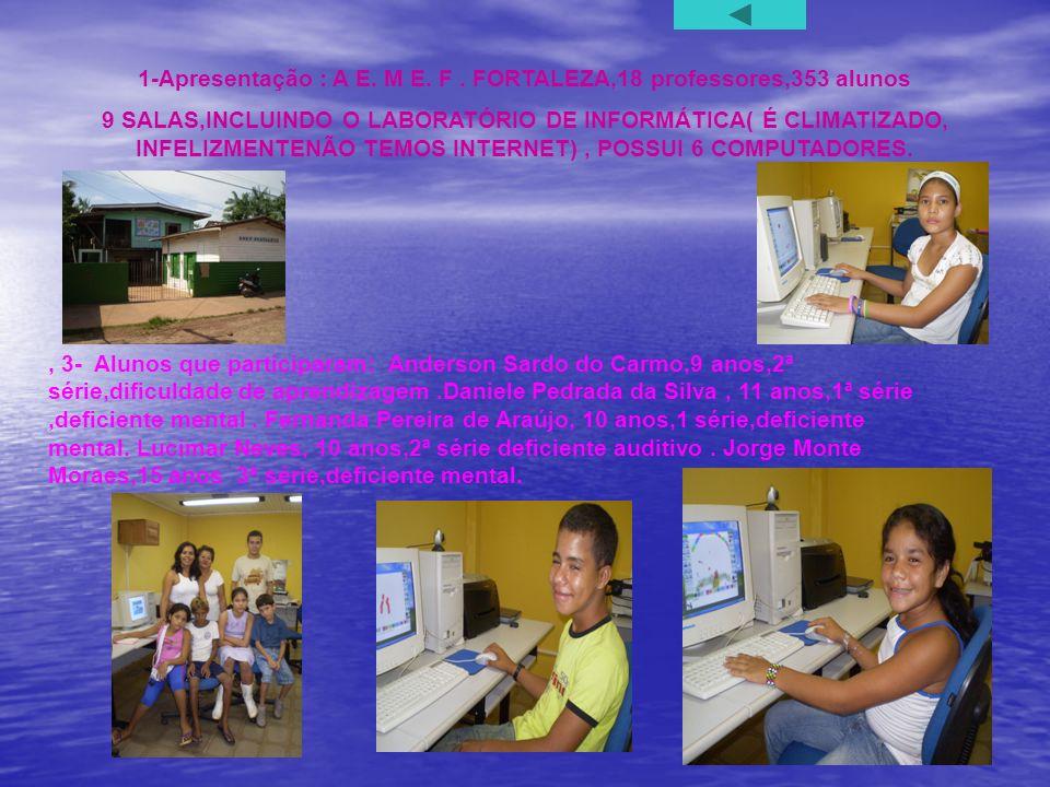 1-Apresentação : A E. M E. F . FORTALEZA,18 professores,353 alunos