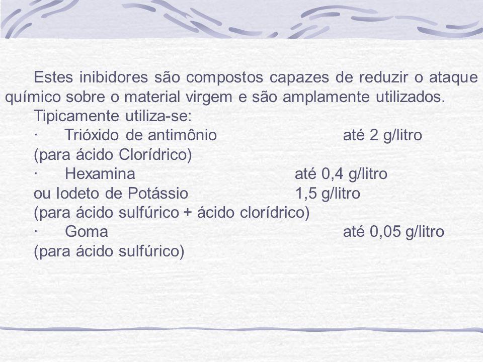 Estes inibidores são compostos capazes de reduzir o ataque químico sobre o material virgem e são amplamente utilizados.