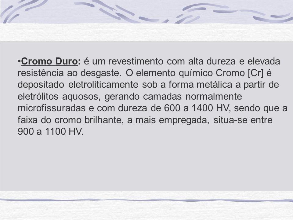 Cromo Duro: é um revestimento com alta dureza e elevada resistência ao desgaste.