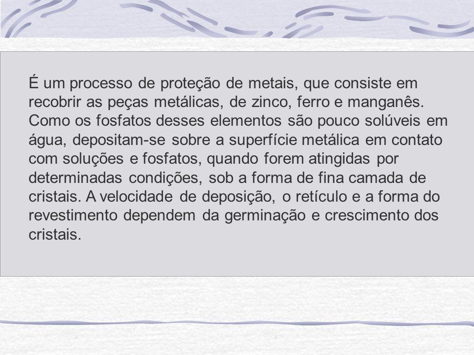 É um processo de proteção de metais, que consiste em recobrir as peças metálicas, de zinco, ferro e manganês.