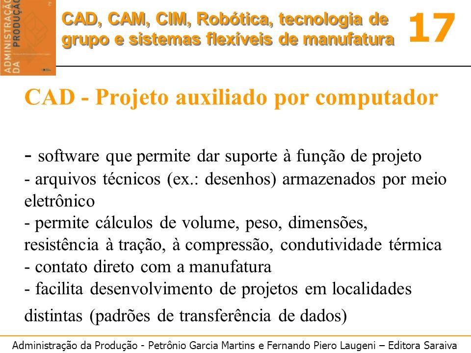 CAD - Projeto auxiliado por computador - software que permite dar suporte à função de projeto - arquivos técnicos (ex.: desenhos) armazenados por meio eletrônico - permite cálculos de volume, peso, dimensões, resistência à tração, à compressão, condutividade térmica - contato direto com a manufatura - facilita desenvolvimento de projetos em localidades distintas (padrões de transferência de dados)