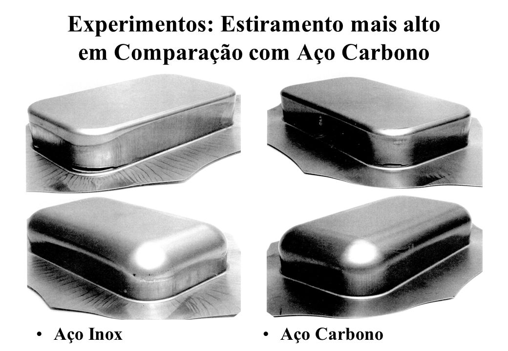 Experimentos: Estiramento mais alto em Comparação com Aço Carbono