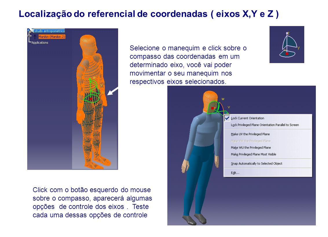 Localização do referencial de coordenadas ( eixos X,Y e Z )