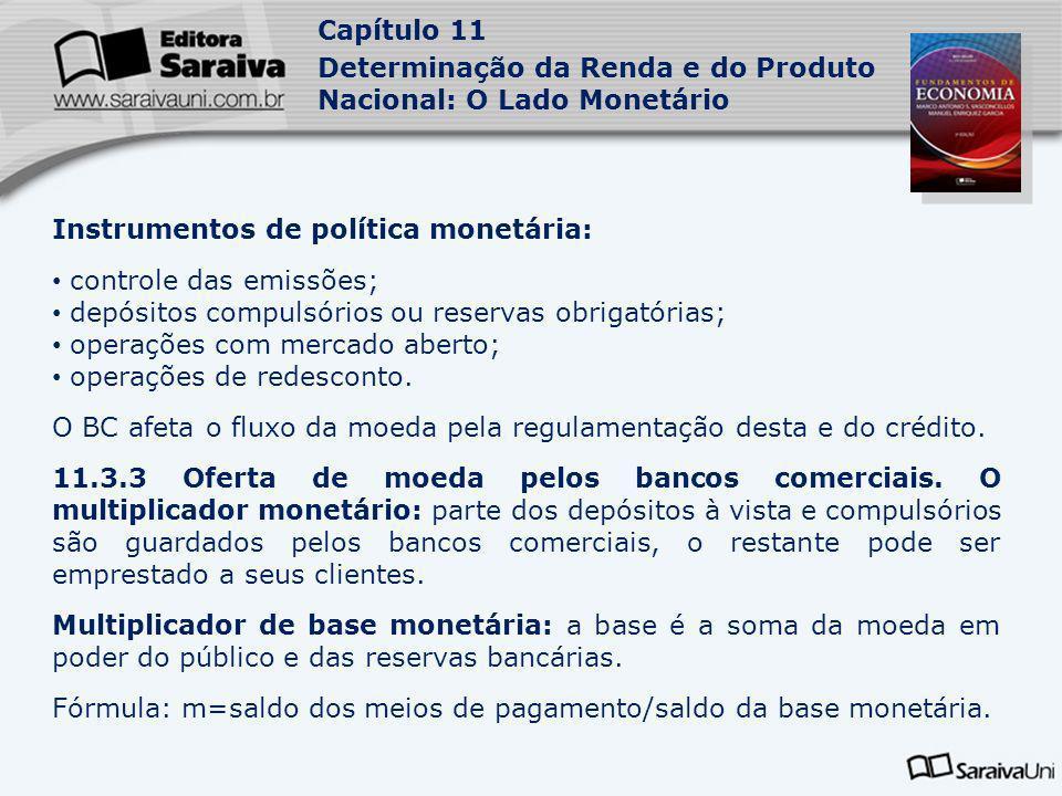 Instrumentos de política monetária: controle das emissões;