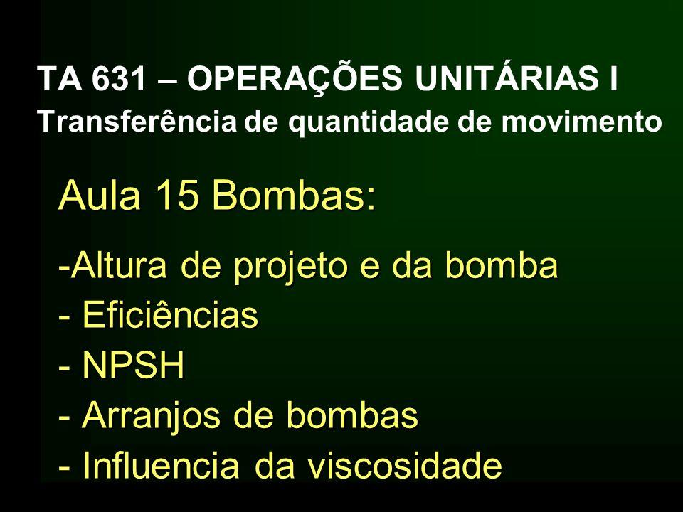 Aula 15 Bombas: Altura de projeto e da bomba Eficiências NPSH