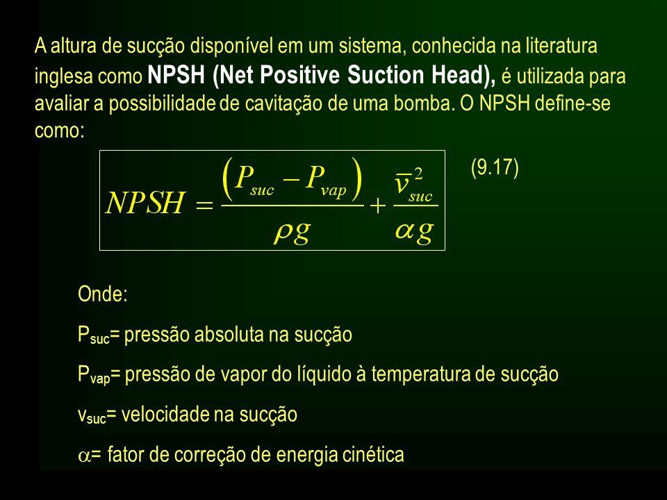 A altura de sucção disponível em um sistema, conhecida na literatura inglesa como NPSH (Net Positive Suction Head), é utilizada para avaliar a possibilidade de cavitação de uma bomba. O NPSH define-se como: