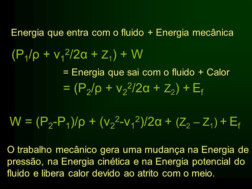 W = (P2-P1)/ρ + (v22-v12)/2α + (Z2 – Z1) + Ef