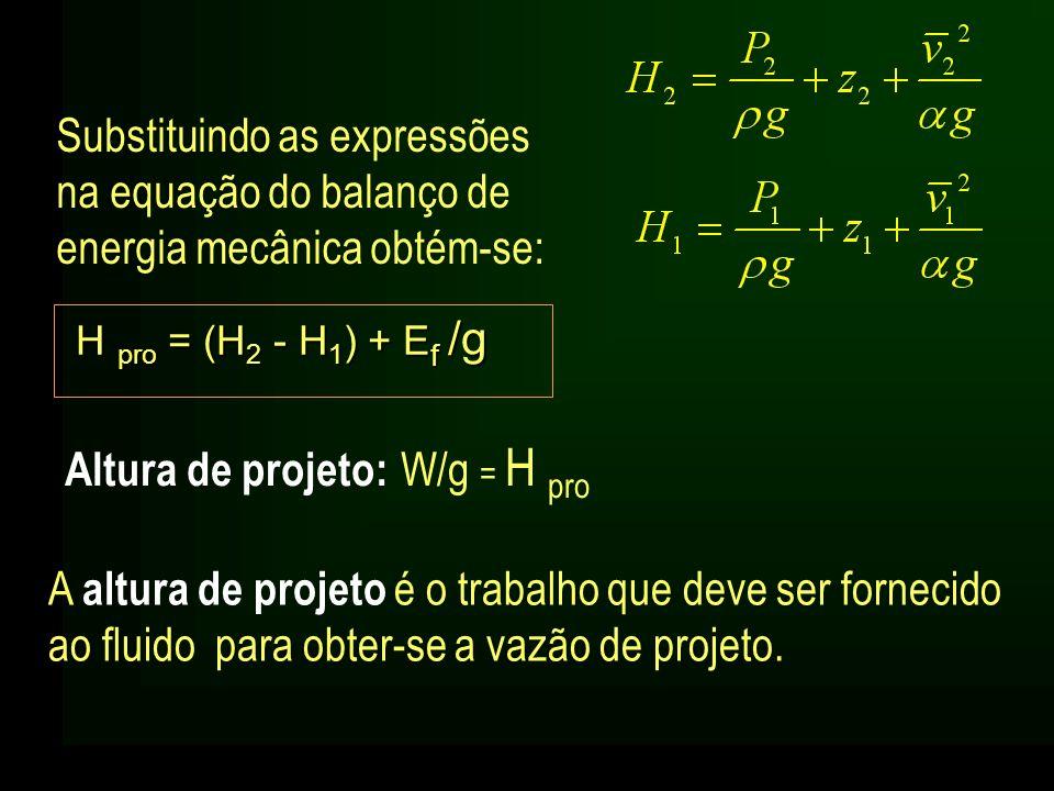 Altura de projeto: W/g = H pro