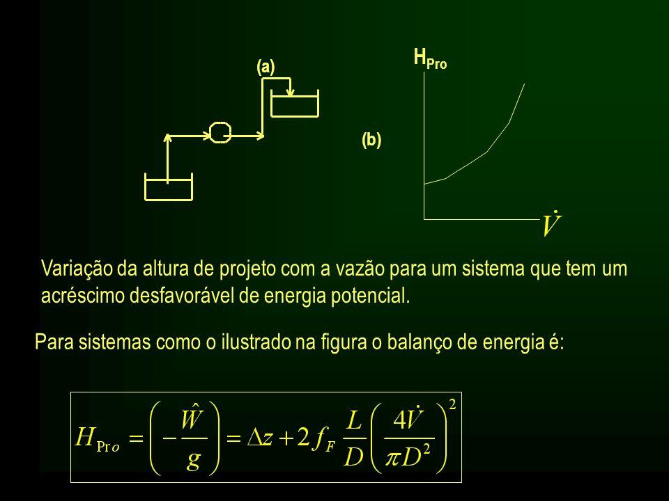 Para sistemas como o ilustrado na figura o balanço de energia é: