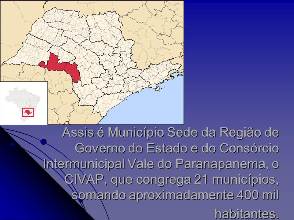 Assis é Município Sede da Região de Governo do Estado e do Consórcio Intermunicipal Vale do Paranapanema, o CIVAP, que congrega 21 municípios, somando aproximadamente 400 mil habitantes.