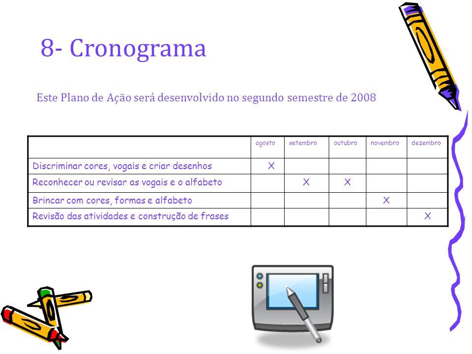 8- Cronograma Este Plano de Ação será desenvolvido no segundo semestre de 2008. agosto. setembro.