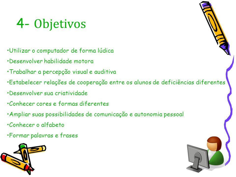 4- Objetivos Utilizar o computador de forma lúdica