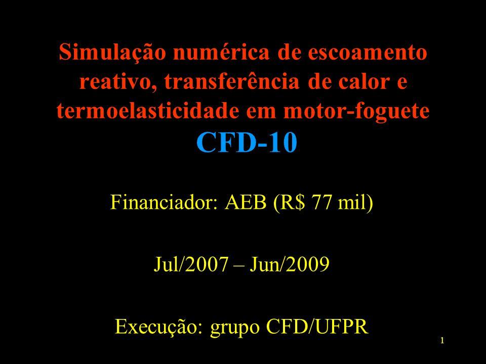 Simulação numérica de escoamento reativo, transferência de calor e termoelasticidade em motor-foguete CFD-10