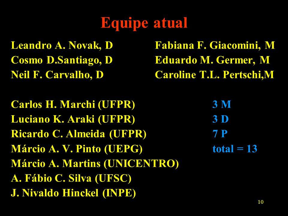 Equipe atual Leandro A. Novak, D Fabiana F. Giacomini, M