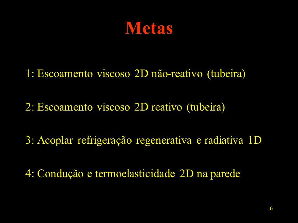 Metas 1: Escoamento viscoso 2D não-reativo (tubeira)