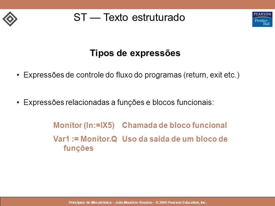 ST — Texto estruturado Tipos de expressões
