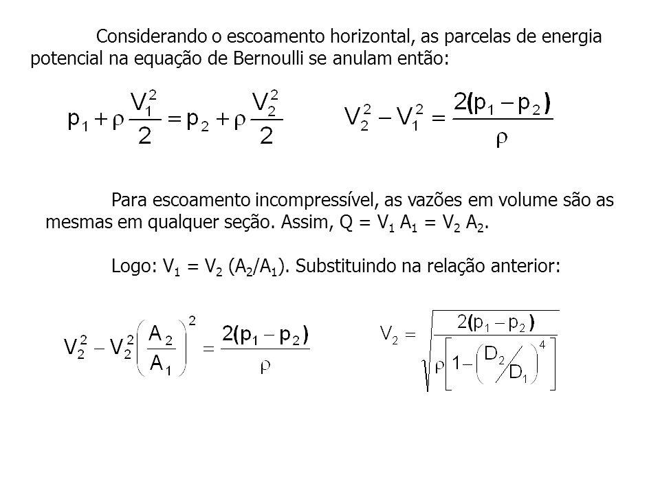 Considerando o escoamento horizontal, as parcelas de energia potencial na equação de Bernoulli se anulam então: