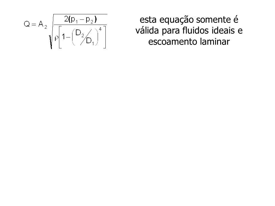 esta equação somente é válida para fluidos ideais e escoamento laminar