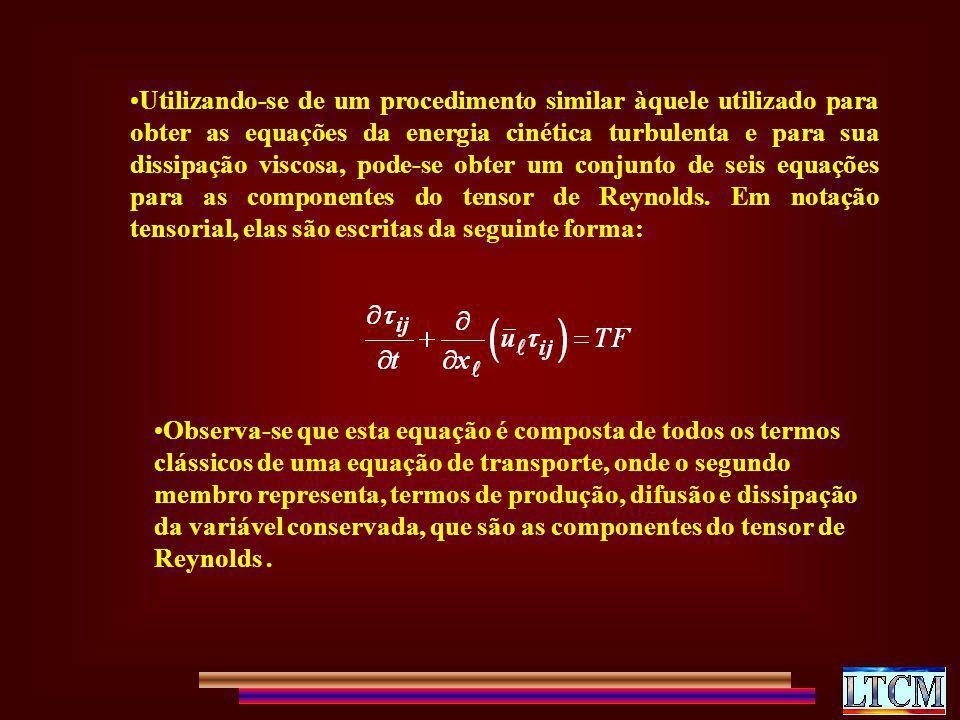 Utilizando-se de um procedimento similar àquele utilizado para obter as equações da energia cinética turbulenta e para sua dissipação viscosa, pode-se obter um conjunto de seis equações para as componentes do tensor de Reynolds. Em notação tensorial, elas são escritas da seguinte forma: