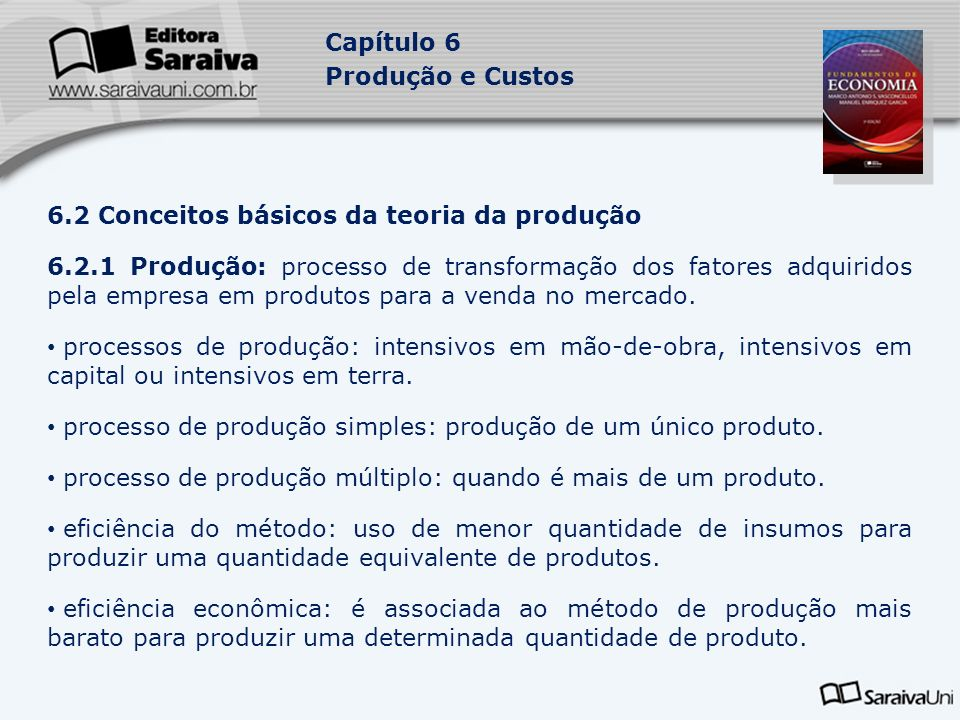 6.2 Conceitos básicos da teoria da produção