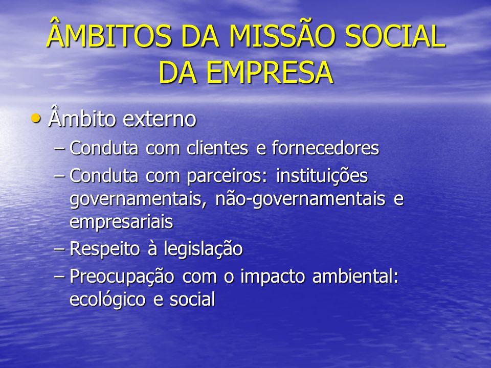 ÂMBITOS DA MISSÃO SOCIAL DA EMPRESA