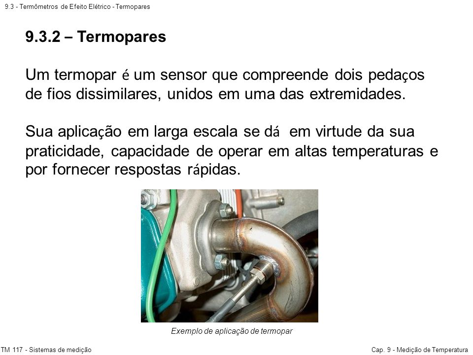Exemplo de aplicação de termopar