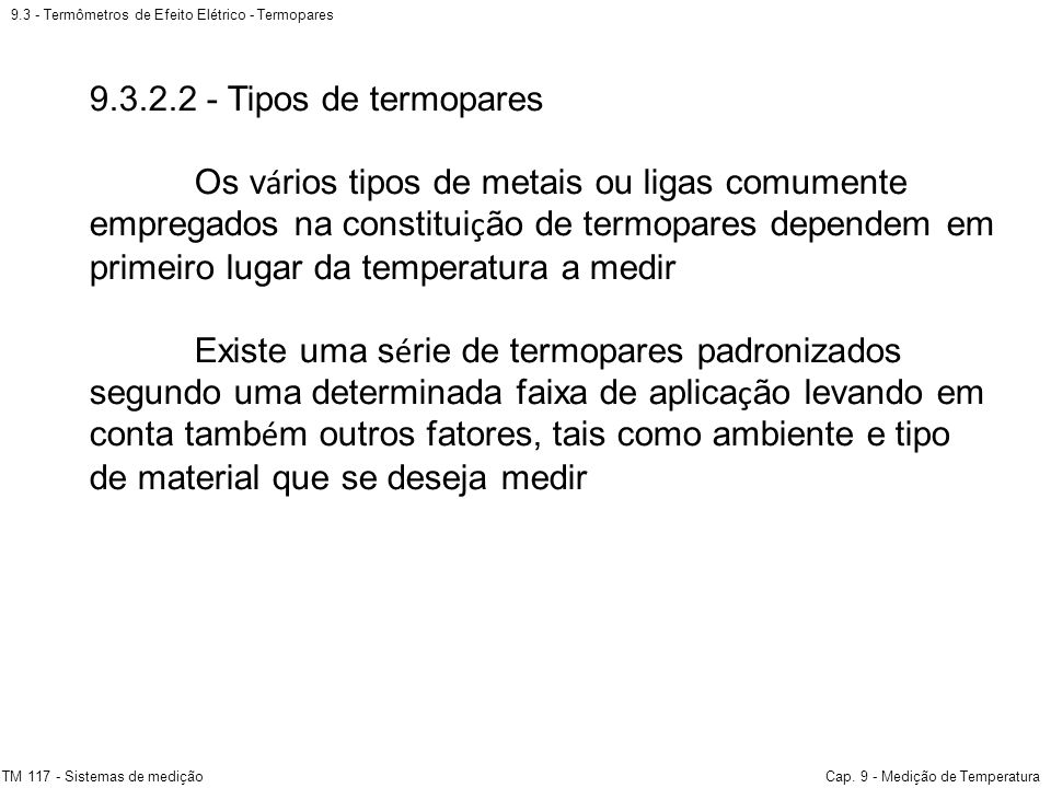 9.3 - Termômetros de Efeito Elétrico - Termopares
