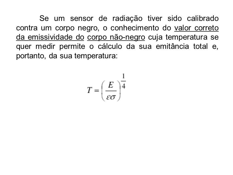 Se um sensor de radiação tiver sido calibrado contra um corpo negro, o conhecimento do valor correto da emissividade do corpo não-negro cuja temperatura se quer medir permite o cálculo da sua emitância total e, portanto, da sua temperatura: