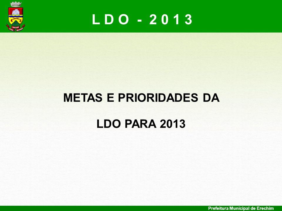 L D O - 2 0 1 3 METAS E PRIORIDADES DA LDO PARA 2013