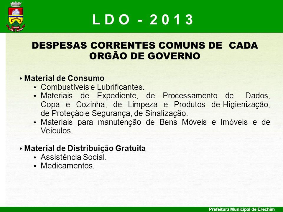 DESPESAS CORRENTES COMUNS DE CADA ORGÃO DE GOVERNO