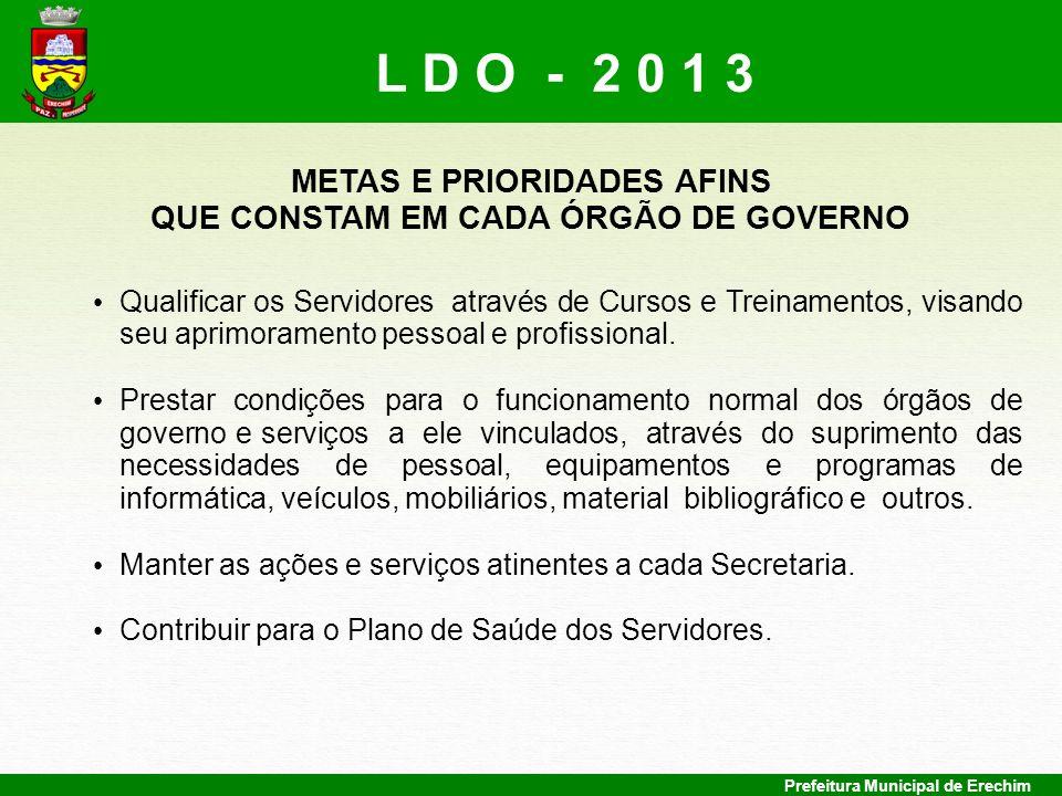 METAS E PRIORIDADES AFINS QUE CONSTAM EM CADA ÓRGÃO DE GOVERNO