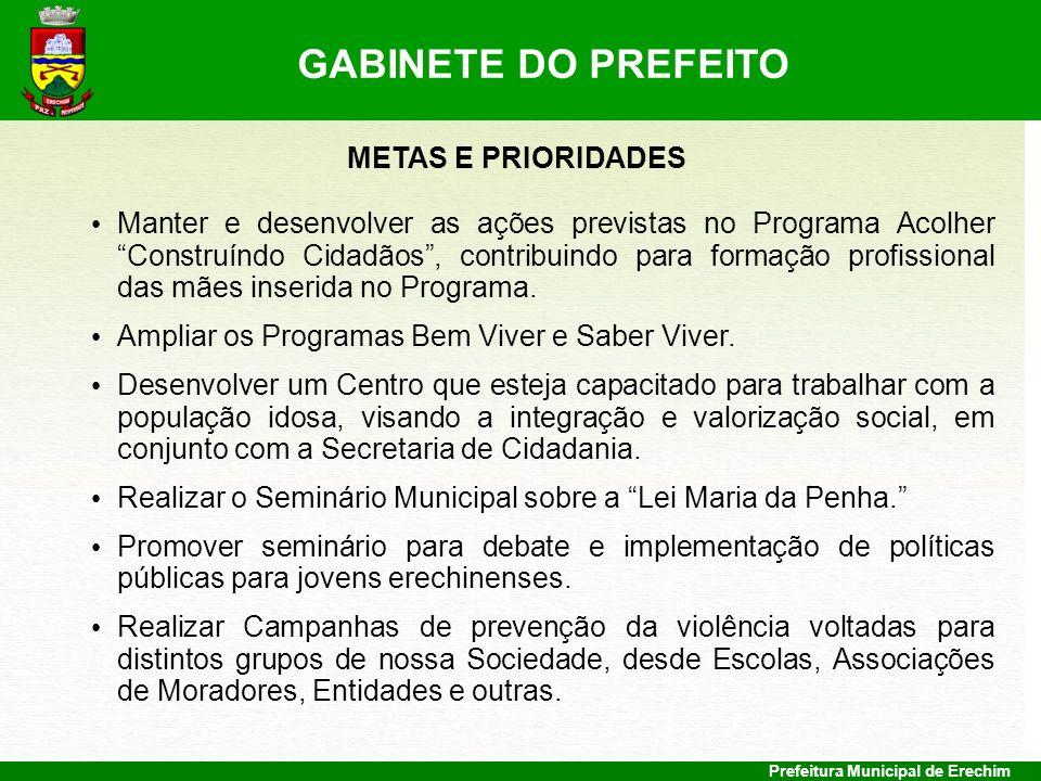 GABINETE DO PREFEITO METAS E PRIORIDADES