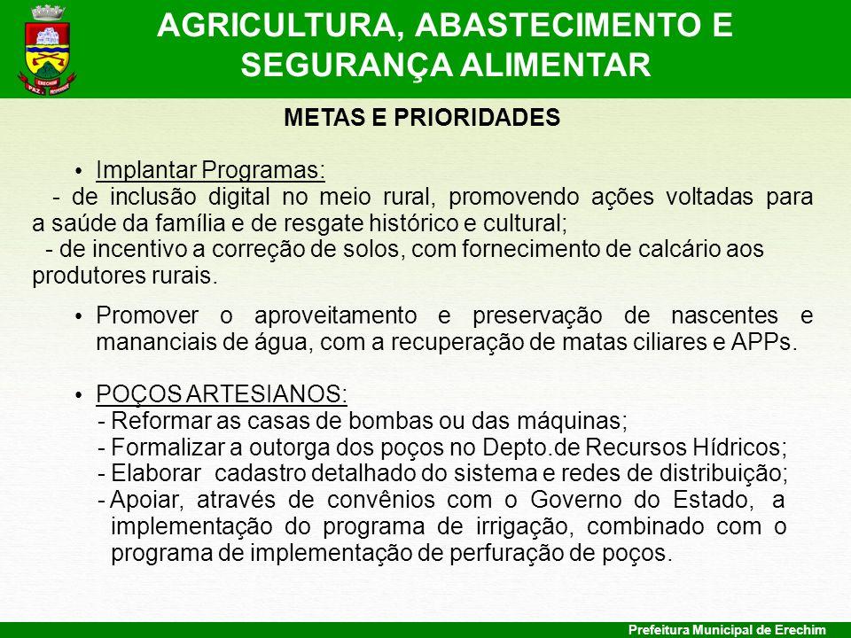 AGRICULTURA, ABASTECIMENTO E SEGURANÇA ALIMENTAR