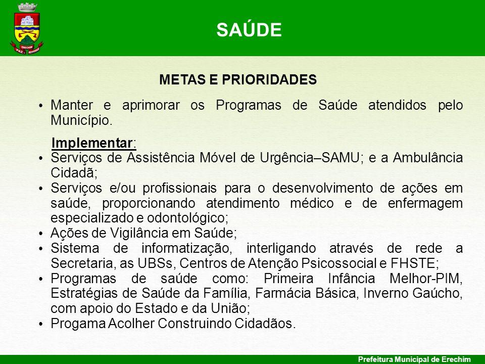 SAÚDE METAS E PRIORIDADES
