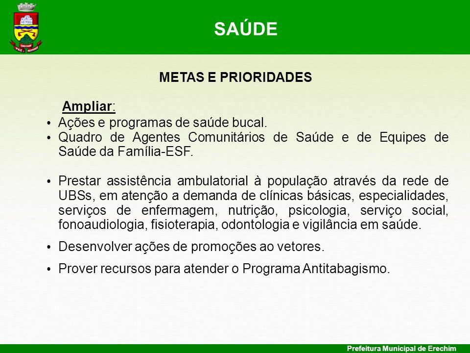 SAÚDE METAS E PRIORIDADES Ampliar: Ações e programas de saúde bucal.