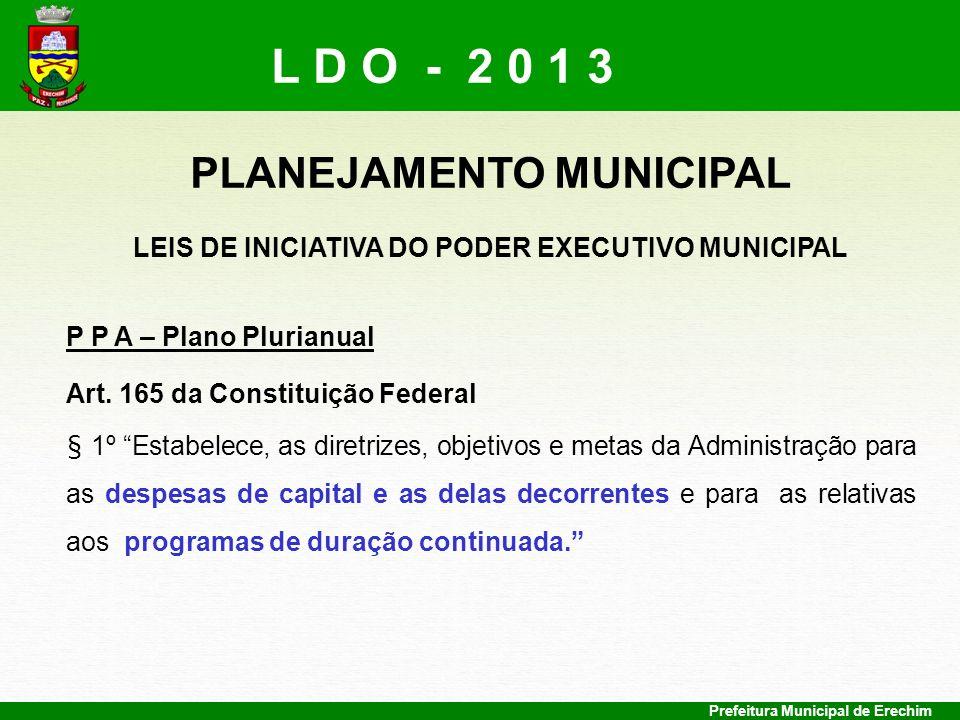 PLANEJAMENTO MUNICIPAL LEIS DE INICIATIVA DO PODER EXECUTIVO MUNICIPAL
