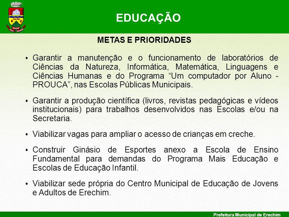 EDUCAÇÃO METAS E PRIORIDADES