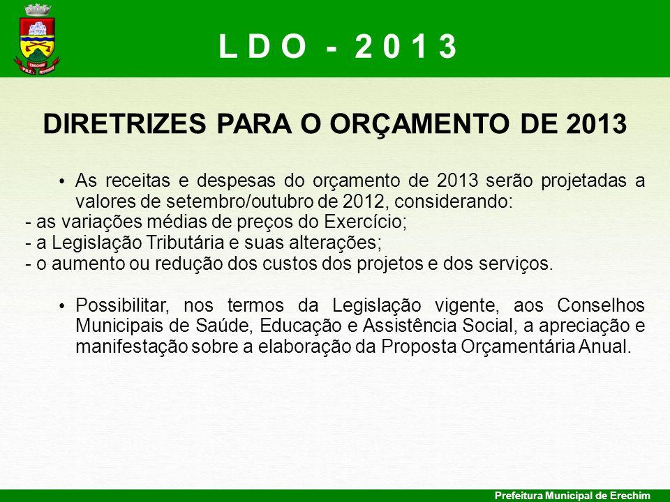 DIRETRIZES PARA O ORÇAMENTO DE 2013