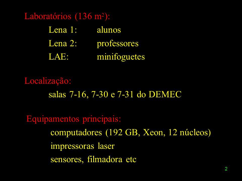 Laboratórios (136 m2):Lena 1: alunos. Lena 2: professores. LAE: minifoguetes. Localização: salas 7-16, 7-30 e 7-31 do DEMEC.