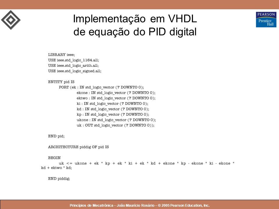 Implementação em VHDL de equação do PID digital