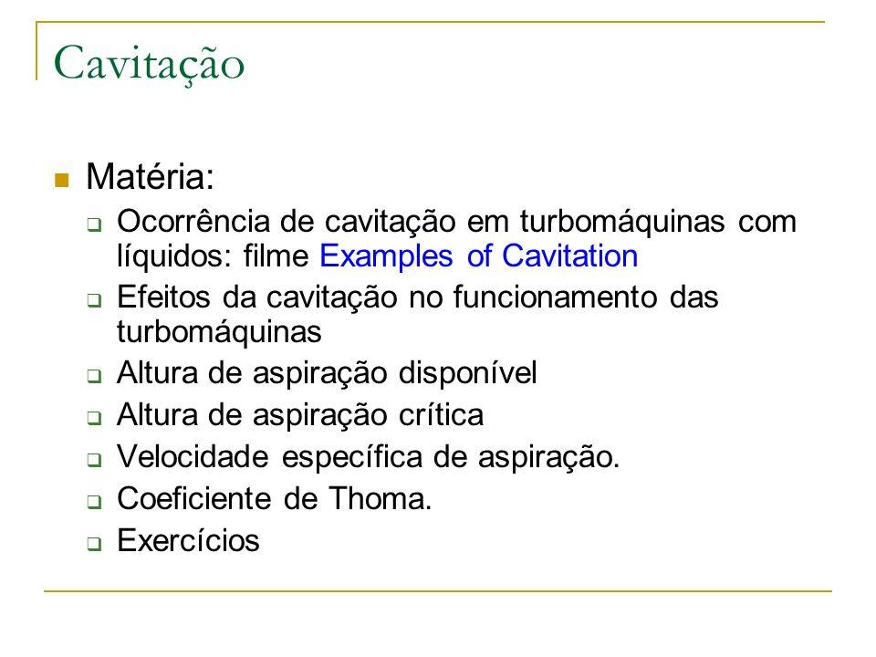 Cavitação Matéria: Ocorrência de cavitação em turbomáquinas com líquidos: filme Examples of Cavitation.