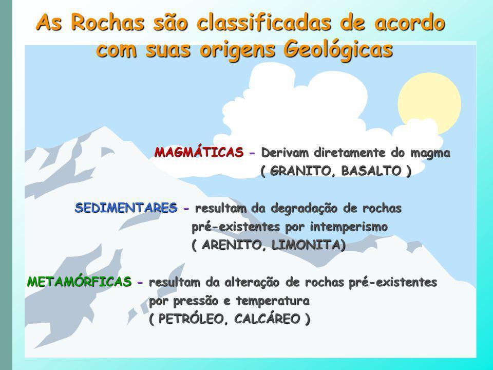 As Rochas são classificadas de acordo com suas origens Geológicas