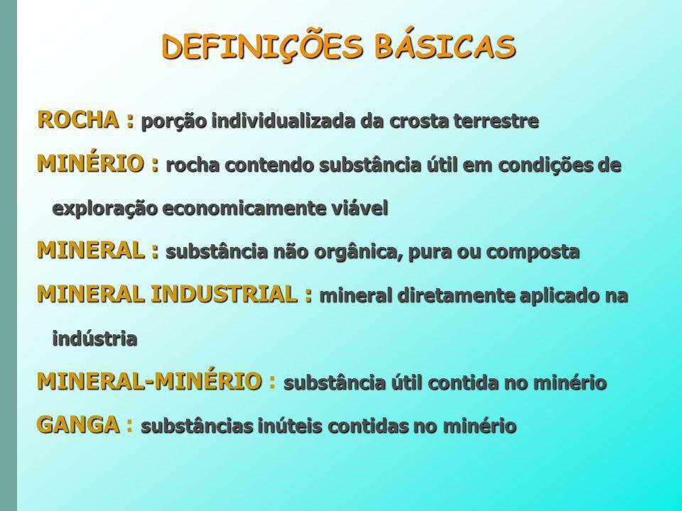 DEFINIÇÕES BÁSICAS ROCHA : porção individualizada da crosta terrestre.