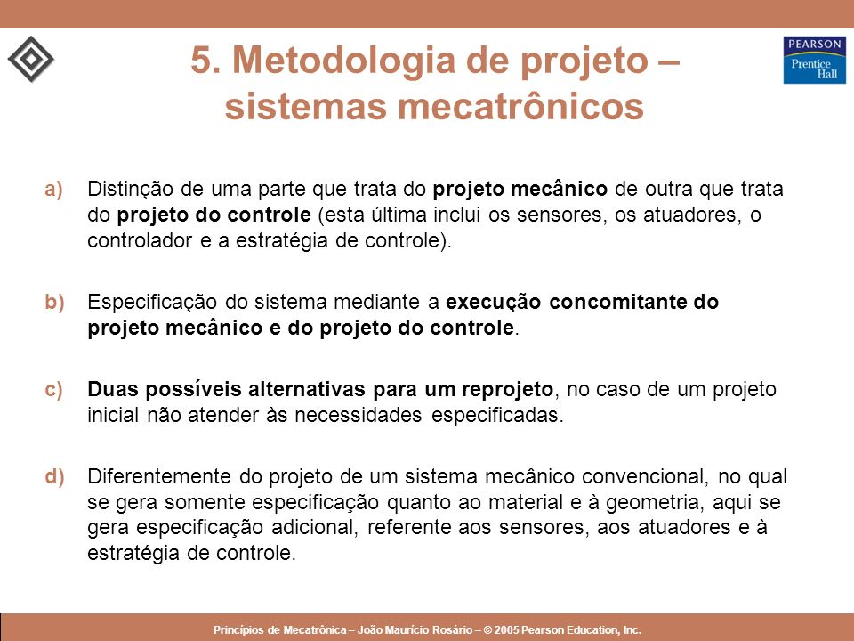 5. Metodologia de projeto – sistemas mecatrônicos