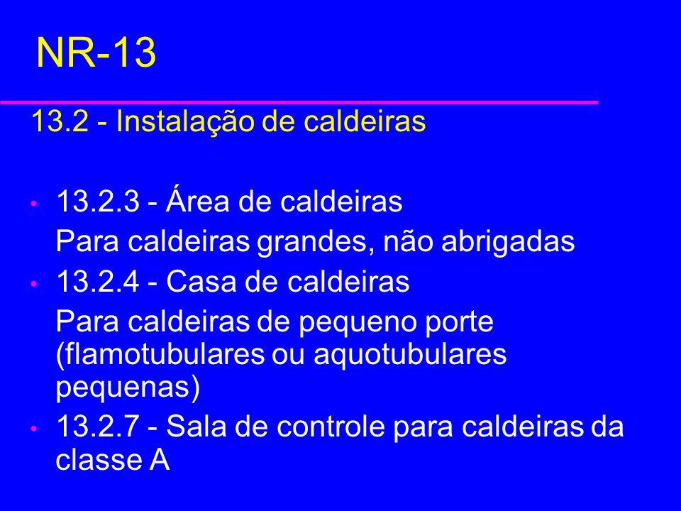NR-13 13.2 - Instalação de caldeiras 13.2.3 - Área de caldeiras
