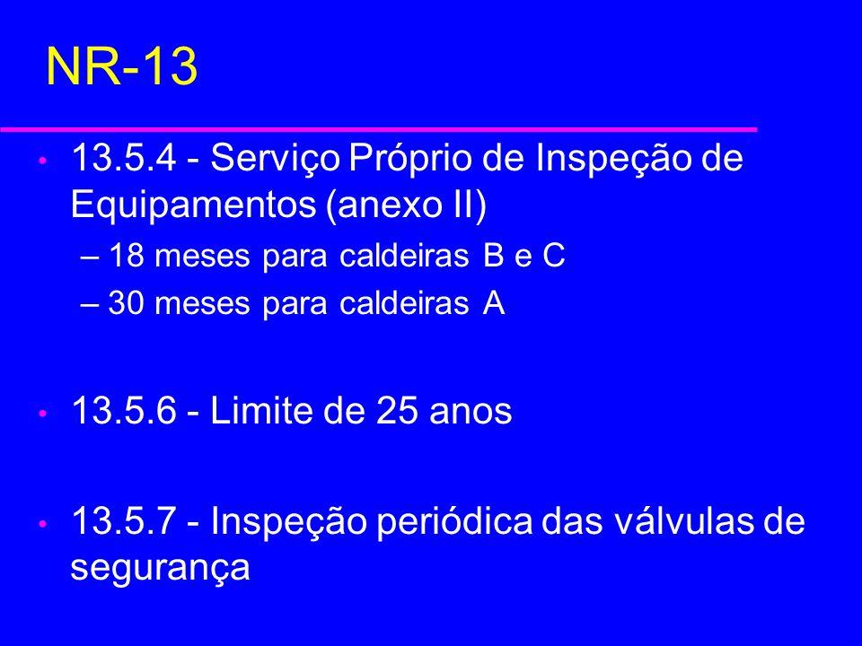NR-13 13.5.4 - Serviço Próprio de Inspeção de Equipamentos (anexo II)