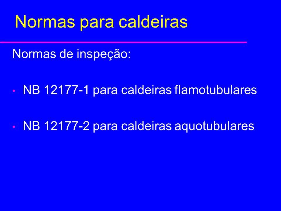 Normas para caldeiras Normas de inspeção: